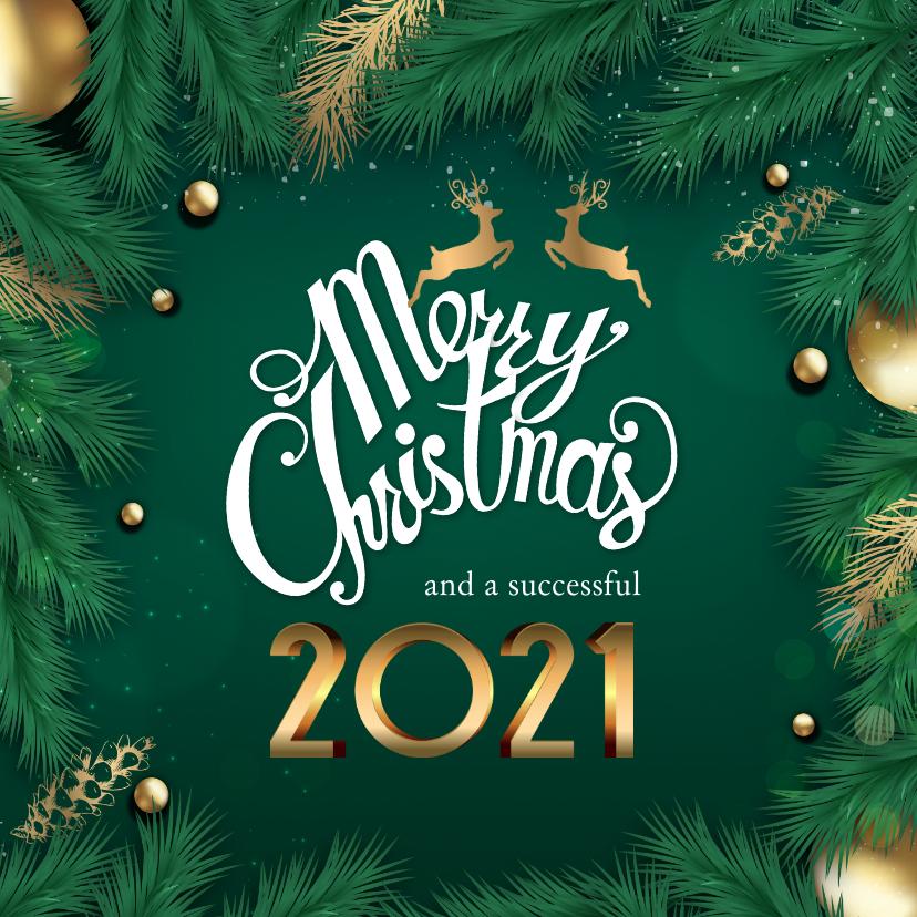 Zakelijke kerstkaarten - Kerstkaart met gouden tekst