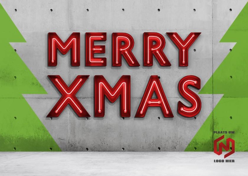 Zakelijke kerstkaarten - Kerstkaart Neon Xmas
