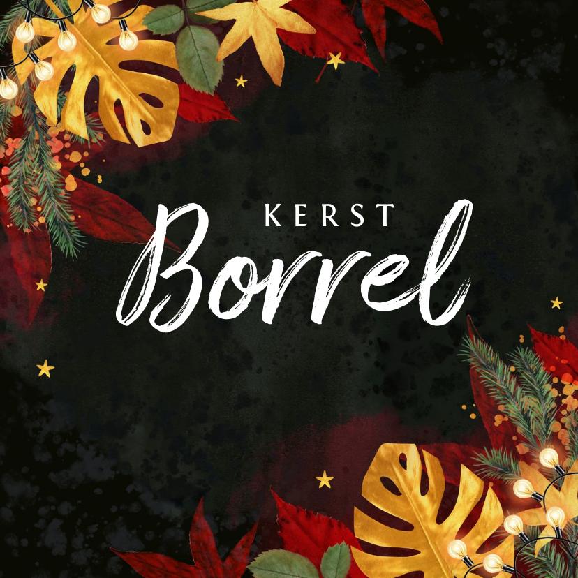 Zakelijke kerstkaarten - Kerstkaart stijlvol red velvet botanisch goud borrel