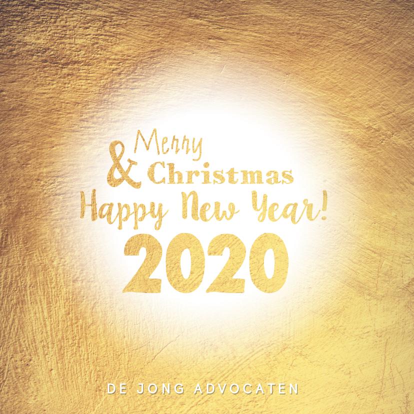 Zakelijke kerstkaarten - Kerstkaart stijlvolle goudkleurige kaart 2020