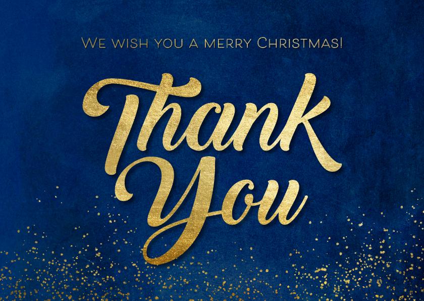 Zakelijke kerstkaarten - Kerstkaart 'Thank You' goudlook