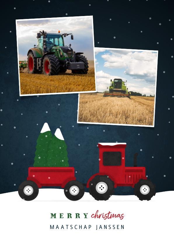 Zakelijke kerstkaarten - Kerstkaart tractor met foto's en sneeuw agrarisch