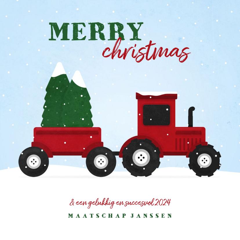 Zakelijke kerstkaarten - Kerstkaart tractor met kerstbomen en sneeuw agrarisch