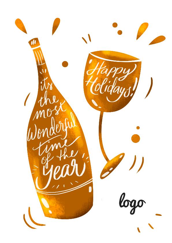 Zakelijke kerstkaarten - Kerstkaart Wijn met logo