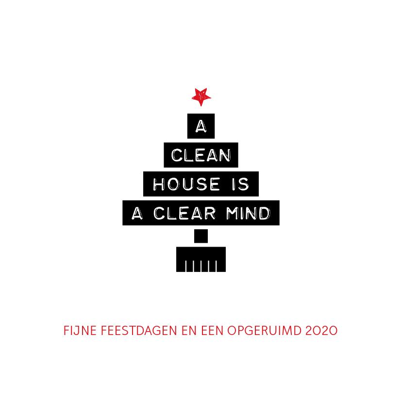 Zakelijke kerstkaarten - Kerstkaart zakelijk a clean house is a clear mind