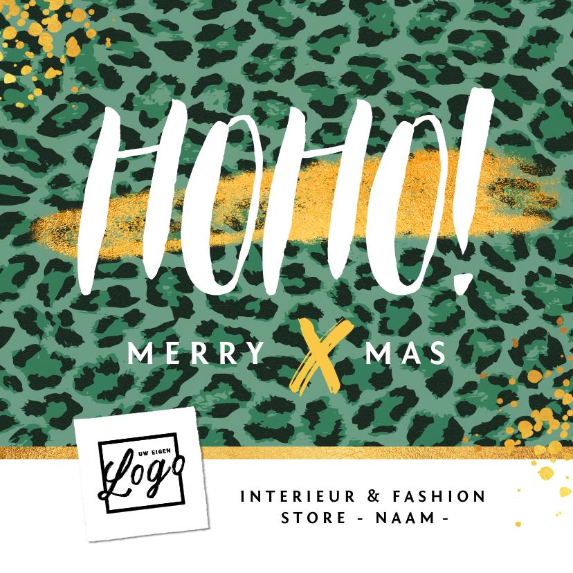 Zakelijke kerstkaarten - Kerstkaart zakelijk HOHO merry X-mas panter trend goud