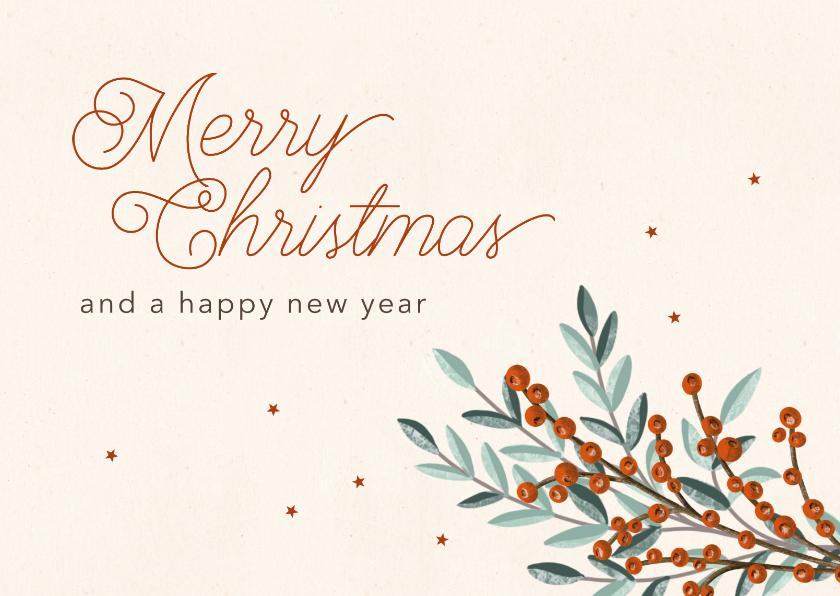 Zakelijke kerstkaarten - Kerstkaart zakelijk takjes & sterren