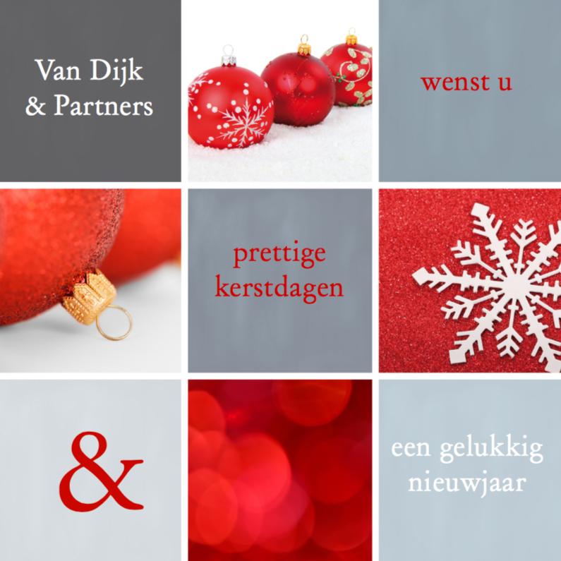 Zakelijke kerstkaarten - Kerstkaart zakelijk vakjes rood grijs