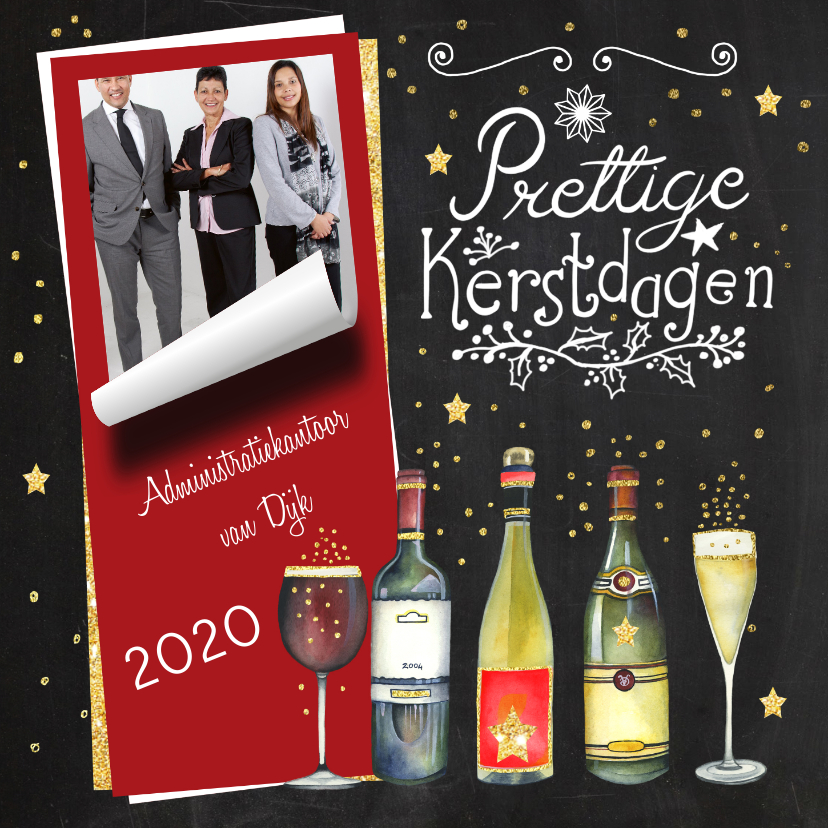 Zakelijke kerstkaarten - Kerstkaart zakelijk wijn