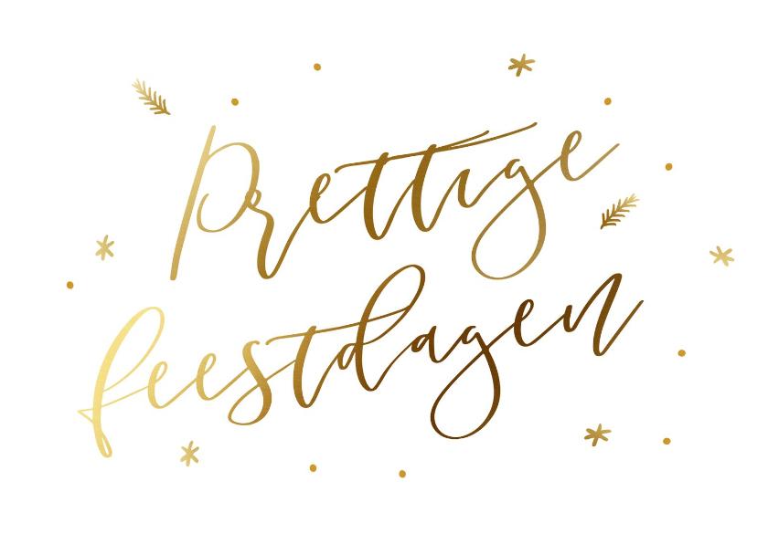 Zakelijke kerstkaarten - Klassieke witte kerstkaart met goudlook kerstwens