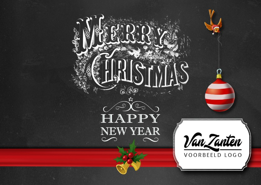 Zakelijke kerstkaarten - Krijtbord kaart met sierlijke letters internationaal