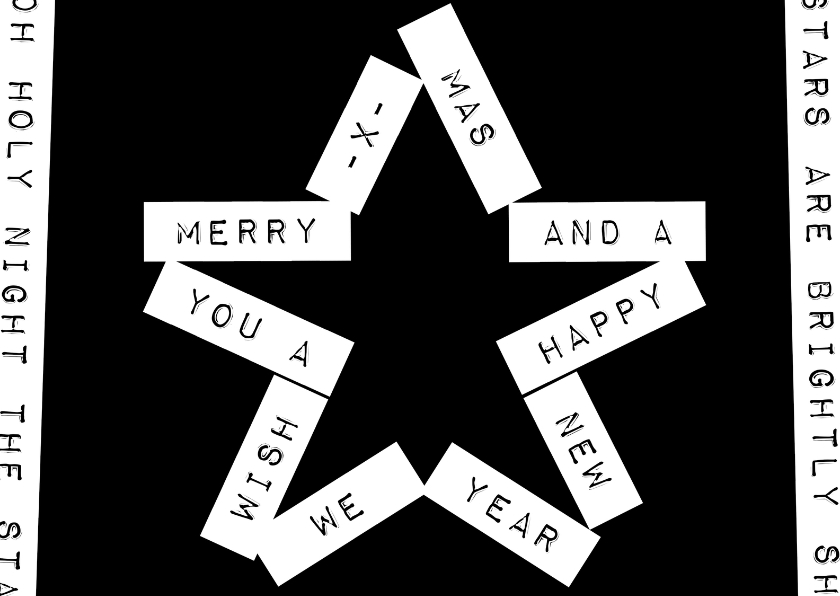 Zakelijke kerstkaarten -  Label ster zwart - BK