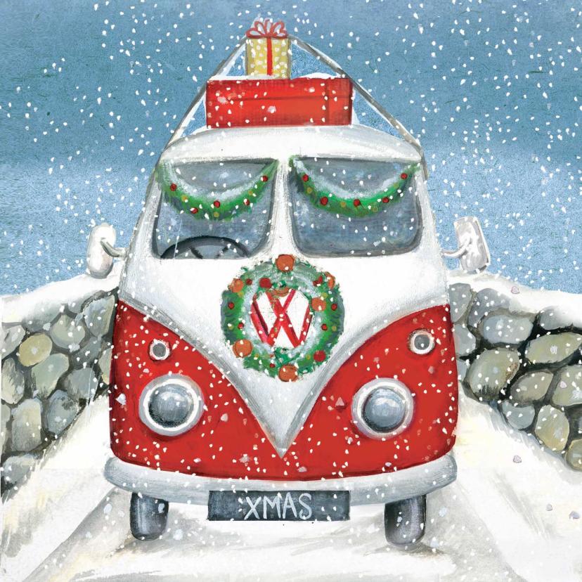 Zakelijke kerstkaarten - Leuke kerstkaart van een VW busje in de sneeuw
