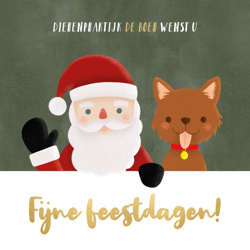 Zakelijke kerstkaarten - Leuke zakelijke kerstkaart dieren branch kerstman en hondje