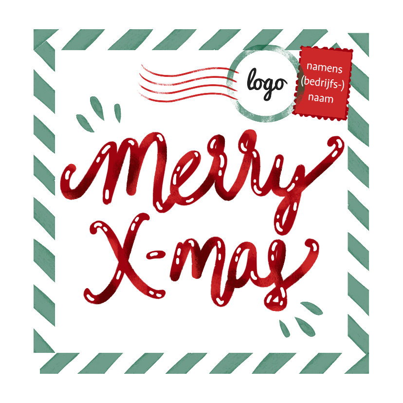 Zakelijke kerstkaarten - Merry Xmas postkaart