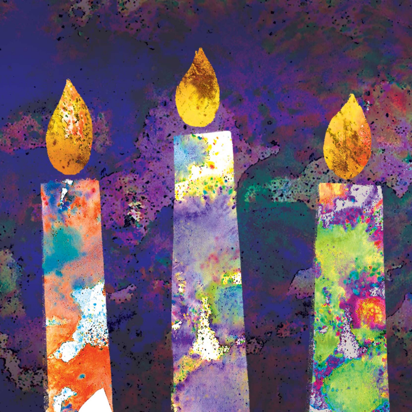 Zakelijke kerstkaarten - Moderne kleurrijke kerstkaart met twee brandende kaarsen