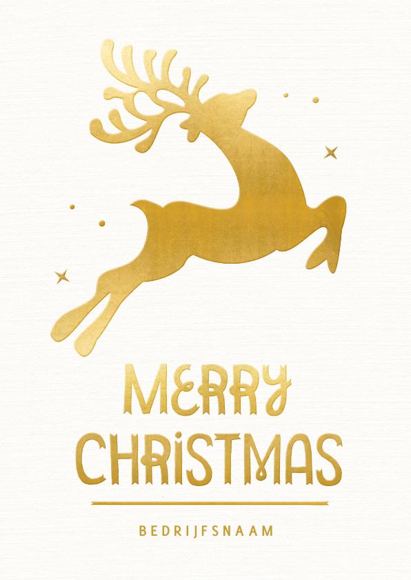 Zakelijke kerstkaarten - Moderne witte kerstkaart met gouden rendier silhouet