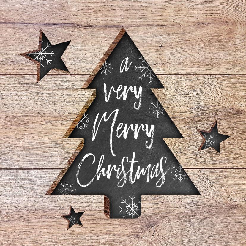 Zakelijke kerstkaarten - Moderne zakelijke kerstkaart hout, kerstboom, tekst & sneeuw