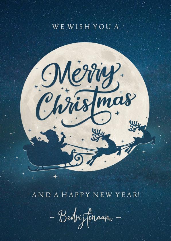 Zakelijke kerstkaarten - Moderne zakelijke kerstkaart silhouet van kerstman in maan