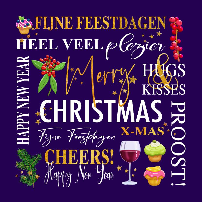 Zakelijke kerstkaarten - Mooie zakelijke kerstkaart met teksten. takjes, gebak wijn