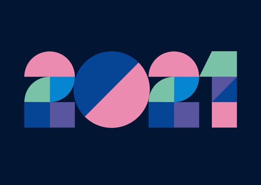 Zakelijke kerstkaarten - Nieuwjaarskaart - zakelijk - 2021 en geometrisch