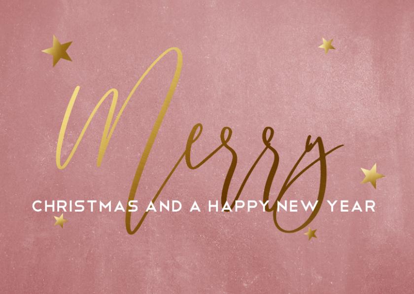 Zakelijke kerstkaarten - Oudroze kerstkaart voor bedrijven met goudlook tekst