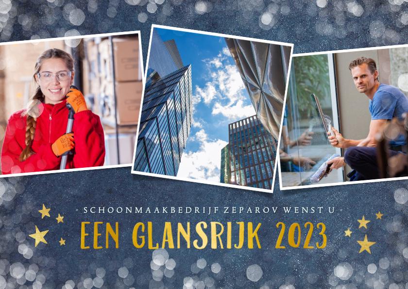 Zakelijke kerstkaarten - Stijlvolle fotocollage zakelijke kerstkaart met 3 foto's