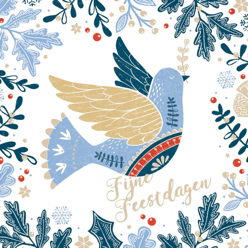 Zakelijke kerstkaarten - Stijlvolle kerstkaart met vredesduif en kersttakjes