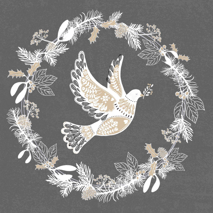 Zakelijke kerstkaarten - Stijlvolle kerstkaart met Vredesduif