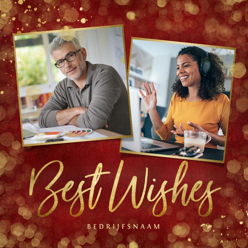 Zakelijke kerstkaarten - Stijlvolle rode zakelijke kerstkaart Best Wishes met foto's