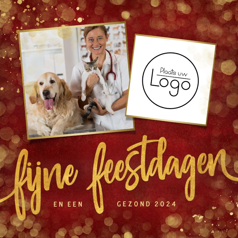 Zakelijke kerstkaarten - Stijlvolle rode zakelijke kerstkaart met eigen foto en logo