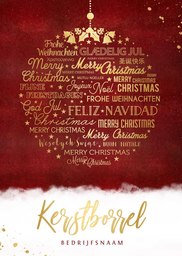 Zakelijke kerstkaarten - Stijlvolle uitnodiging zakelijke kerstborrel met kerstbal