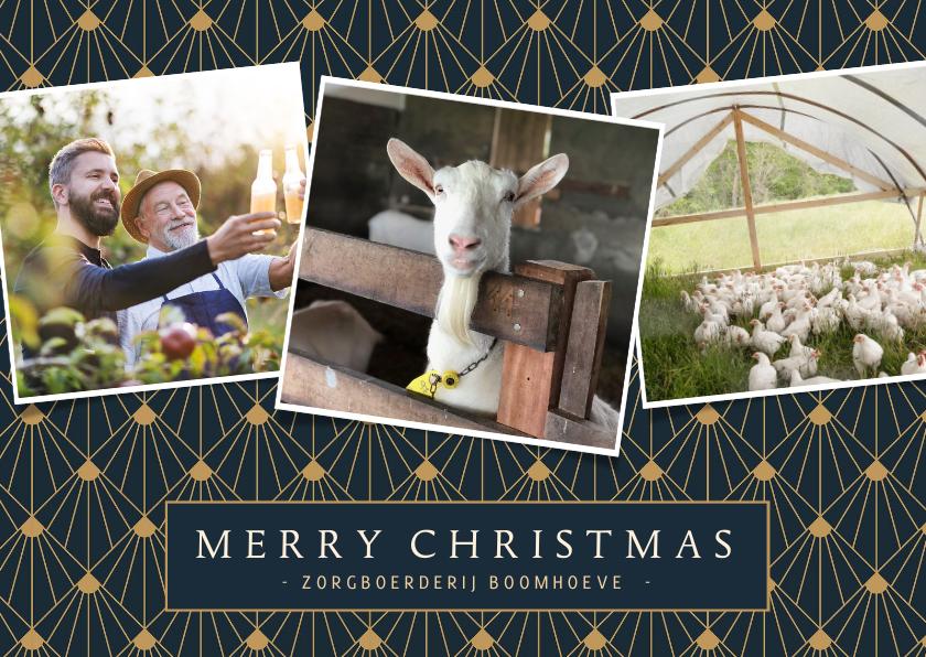 Zakelijke kerstkaarten - Stijlvolle zakelijke kerstkaart art-deco met 3 foto's