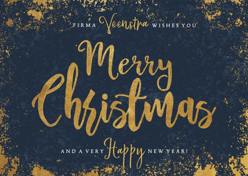 Zakelijke kerstkaarten - Stijlvolle zakelijke kerstkaart blauw, goud Merry Christmas