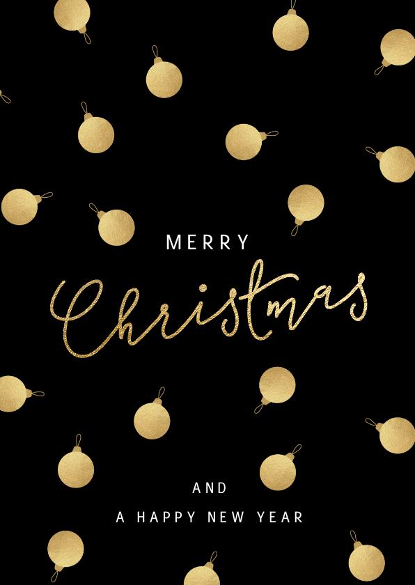 Zakelijke kerstkaarten - Stijlvolle zakelijke kerstkaart gouden kerstballen