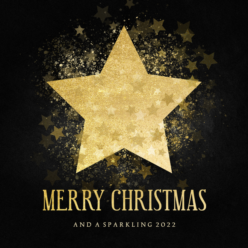 Zakelijke kerstkaarten - Stijlvolle zakelijke kerstkaart gouden ster Merry Christmas