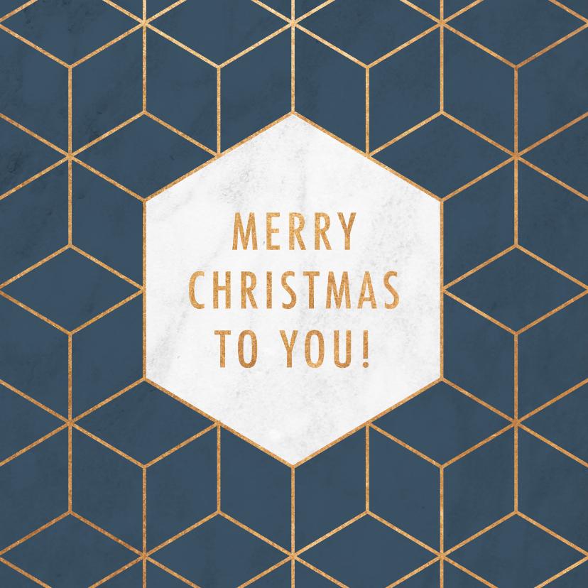 Zakelijke kerstkaarten - Stijlvolle zakelijke kerstkaart hexagon, marmer & typografie