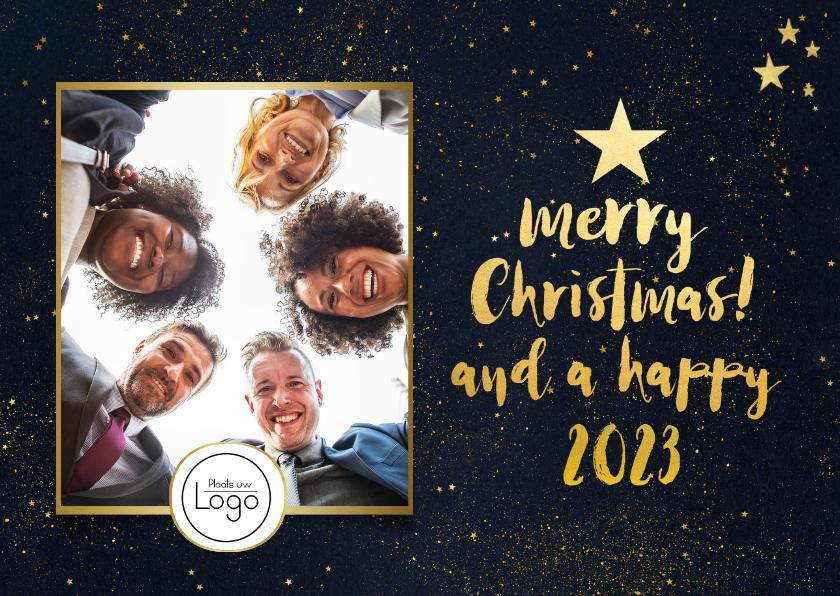 Zakelijke kerstkaarten - Stijlvolle zakelijke kerstkaart met goud, eigen foto en logo