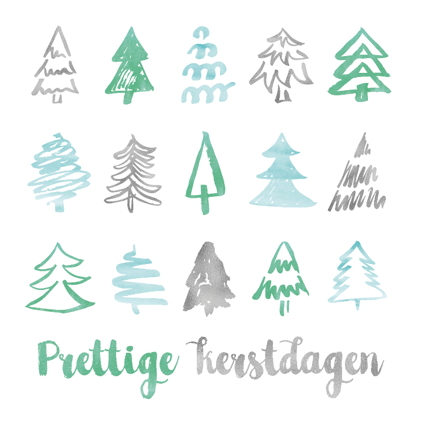 Zakelijke kerstkaarten - Strakke kerstkaart met patroon kerstbomen