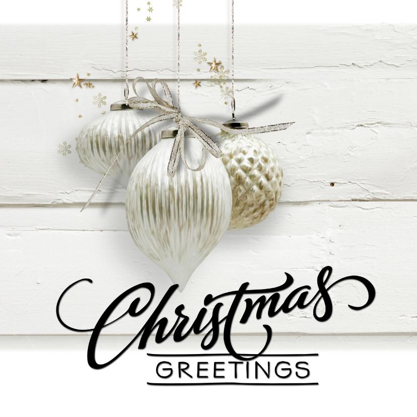 Zakelijke kerstkaarten - Trendy kerstkaart houtprint wit