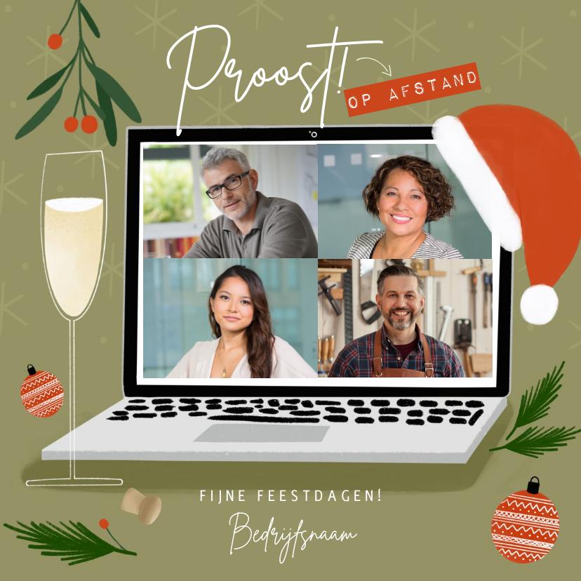 Zakelijke kerstkaarten - Trendy zakelijke kerstkaart borrel op afstand met laptop