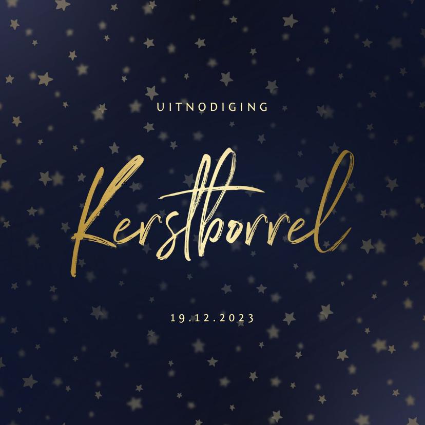Zakelijke kerstkaarten -  Uitnodiging kerstborrel goud met sterren