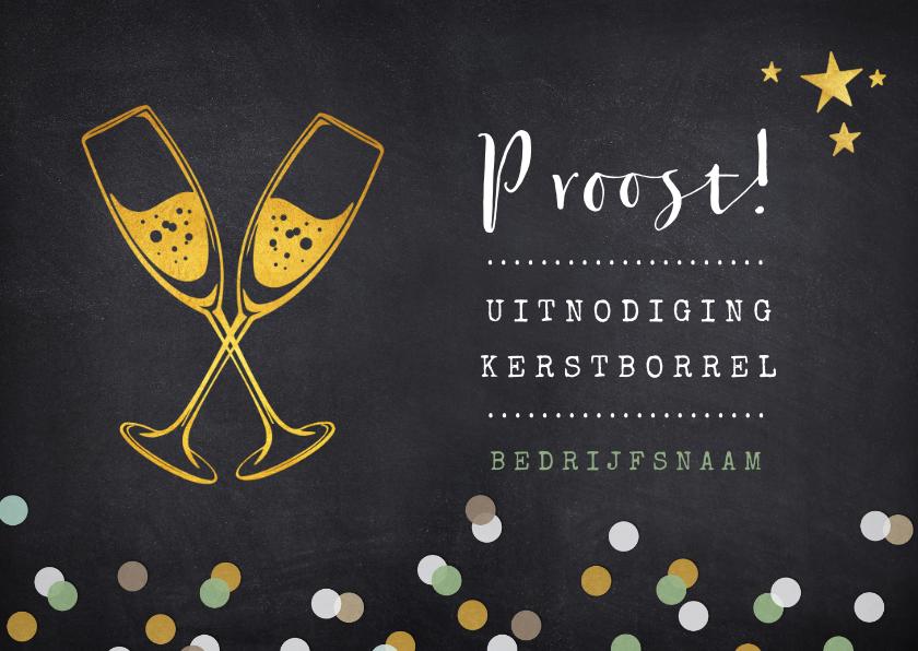Zakelijke kerstkaarten - Uitnodiging zakelijk kerstborrel proost met champagneglazen