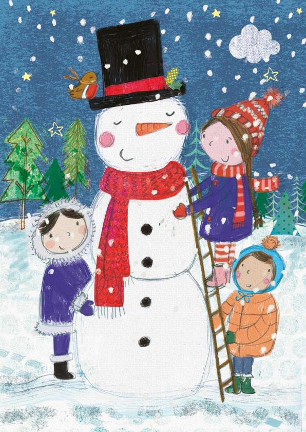 Zakelijke kerstkaarten - Vrolijke kerstkaart met kinderen die een sneeuwpop maken