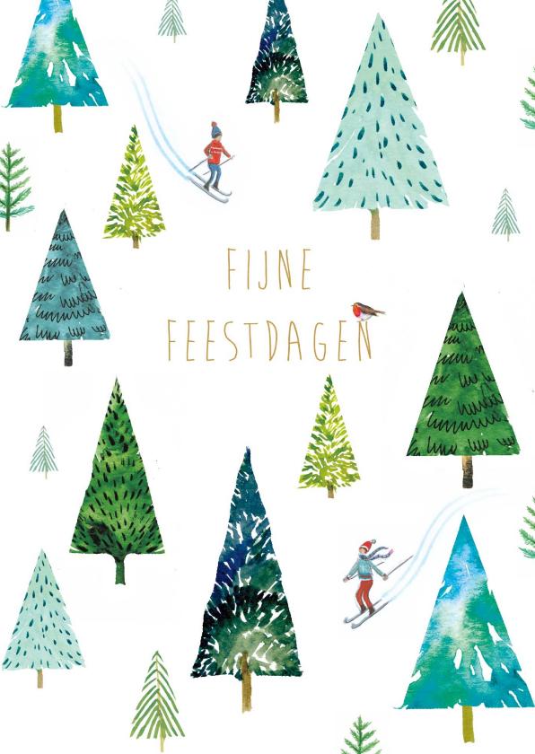 Zakelijke kerstkaarten - Vrolijke Kerstkaart met skiërs en kerstbomen in de sneeuw.