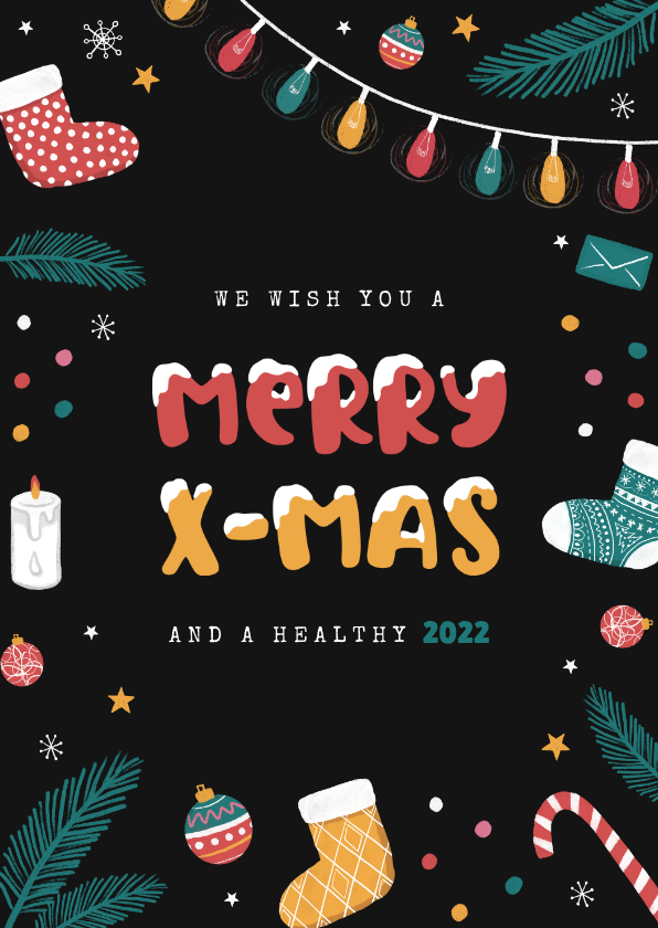 Zakelijke kerstkaarten - Vrolijke zakelijke kerstkaart met sokken en kerstballen