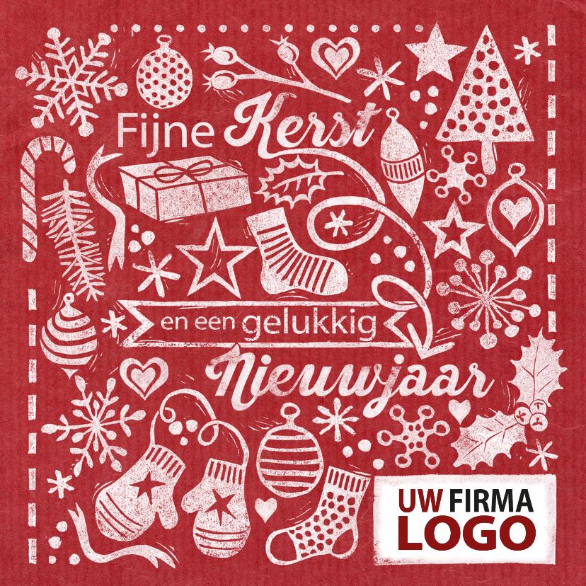 Zakelijke kerstkaarten - YVON stempels rood logo
