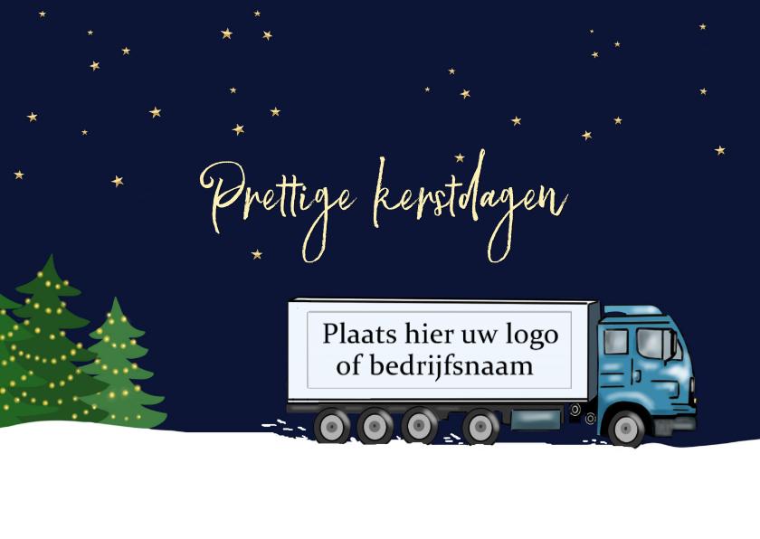 Zakelijke kerstkaarten - Zakelijke kerst - vrachtwagen in de sneeuw