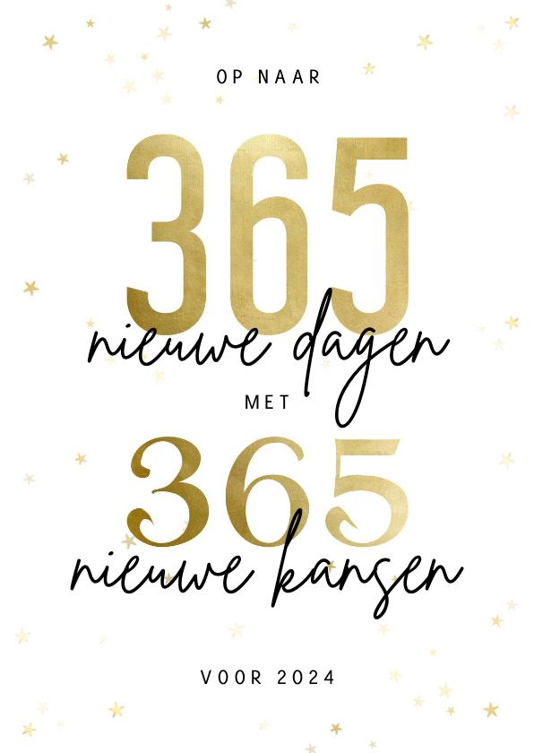 Zakelijke kerstkaarten -  Zakelijke kerstkaart 365 nieuwe dagen met 365 nieuwe kansen