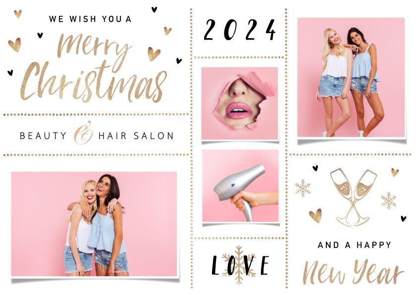 Zakelijke kerstkaarten - Zakelijke kerstkaart beauty haar salon goud foto hartjes